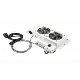 """Tuuletin moduli 19"""" lattiakaappiin Laukamo 2 puhallinta + termostaatti"""